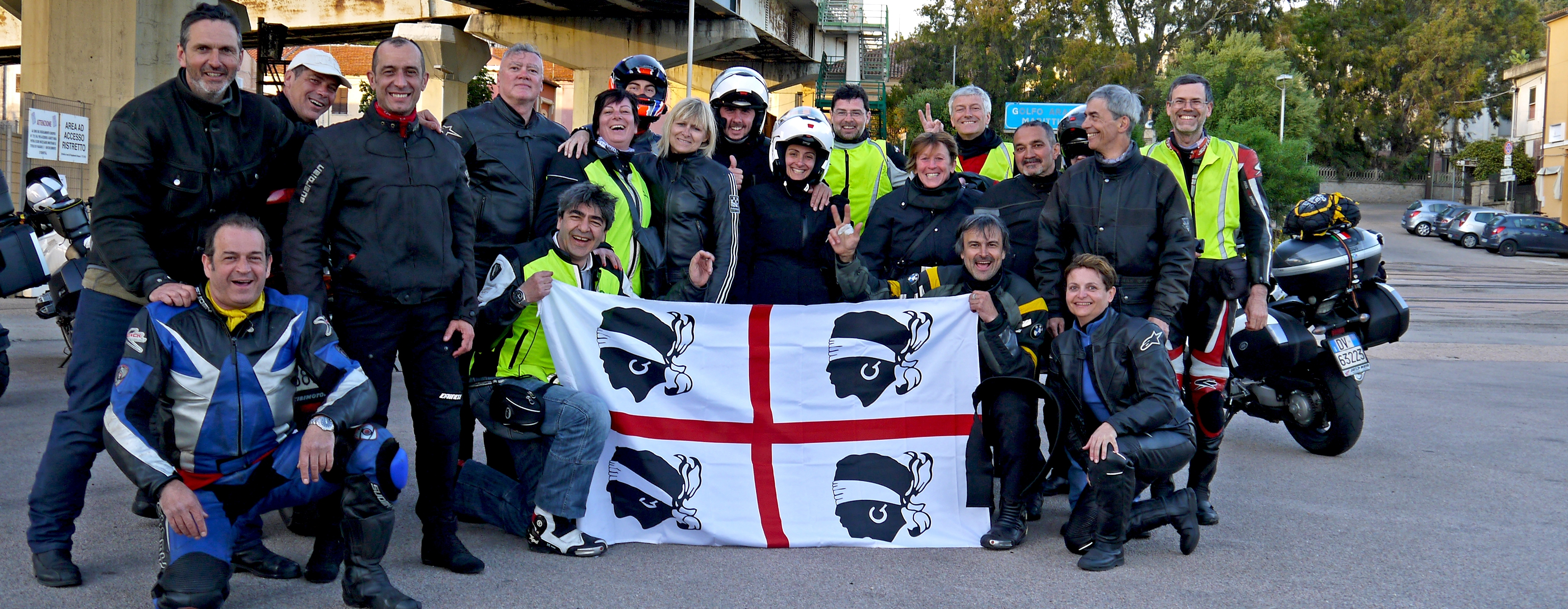 A group picture of happy customers on our motorcycle guided tour in Sardinia