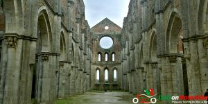The remains of a church on our Top Class motorcycle tour Italia Bella