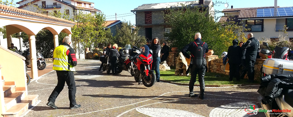 Bikers about to depart from the overnight hotel on one of our motorcycle tour