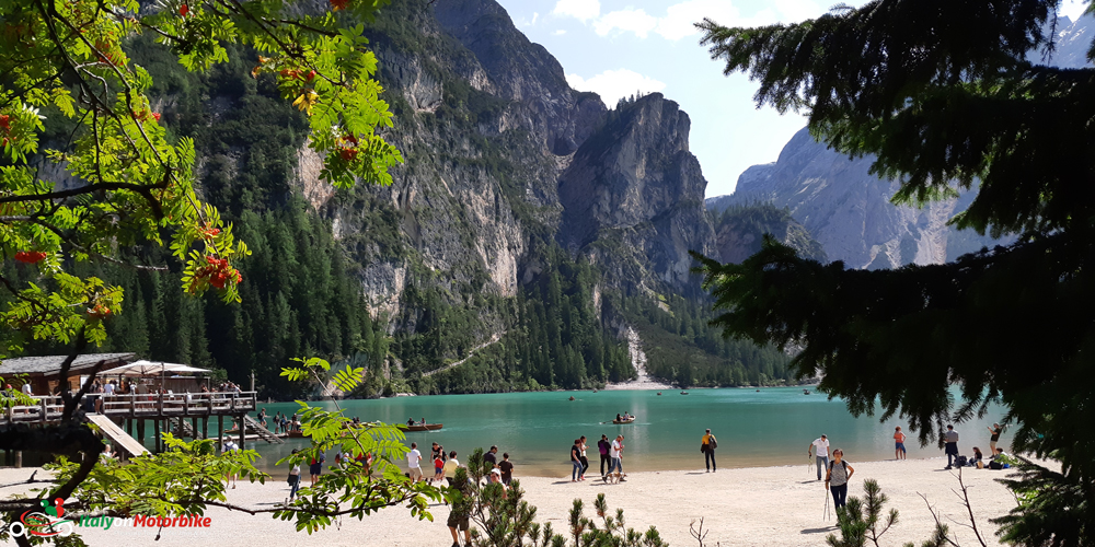 A shot of one of the mane lakes in the Dolomites from our classic motorcycle tour of the Dolomites