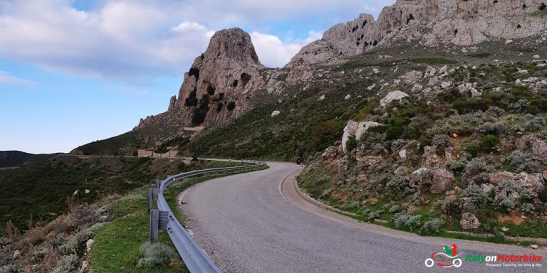 A beautiful twisty road with perfect tarmac in the mountains on our Top Class motorcycle tour of Sardinia