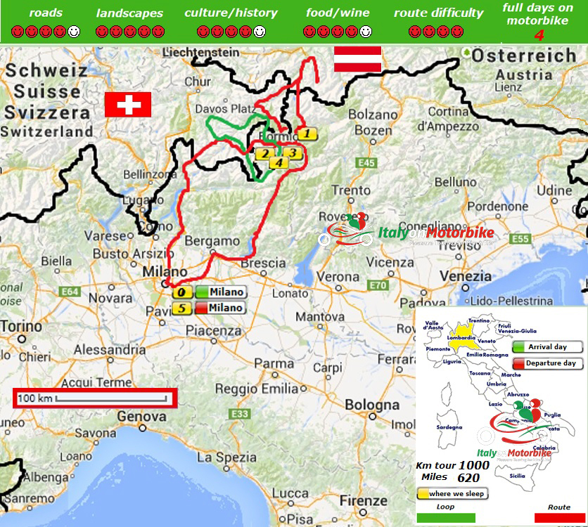 Map of our motorcycle tour in the Alps, including the famous Stelvio pass