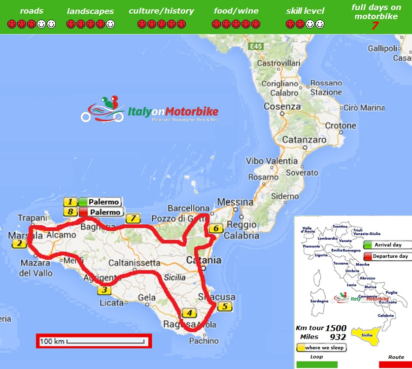 Map of our motorcycle tour in Sicily