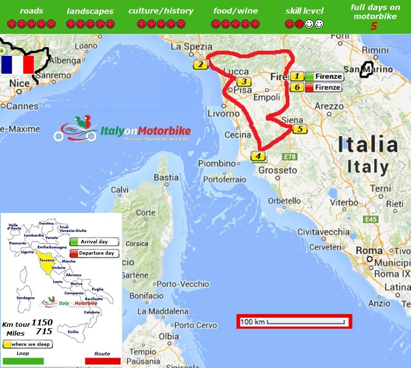 Map of our motorcycle tour in Tuscany