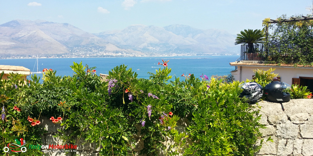 A sea view from Gaeta from our classic motorcycle tour of central Italy