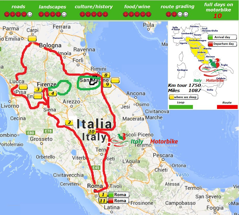 Map of our motorcycle tour in Italy including a MotoGP