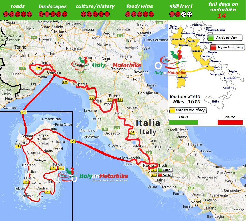 Map of our motorcycle tour in the best of Italy