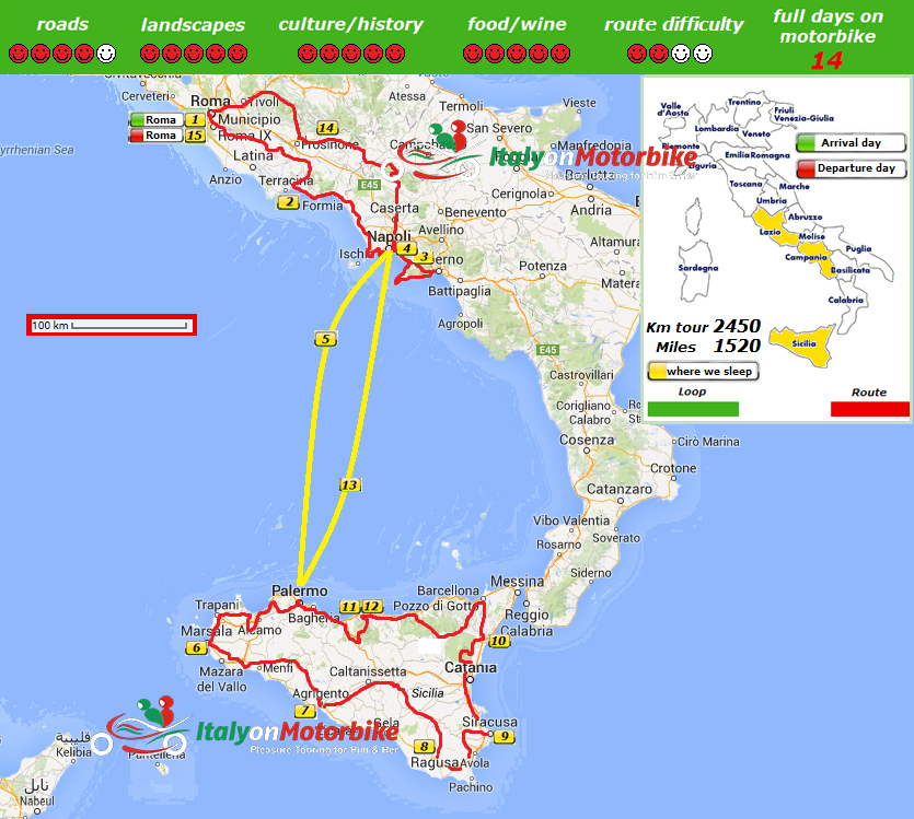 Map of our Amalfi Coast And Sicily Motorbike Tour