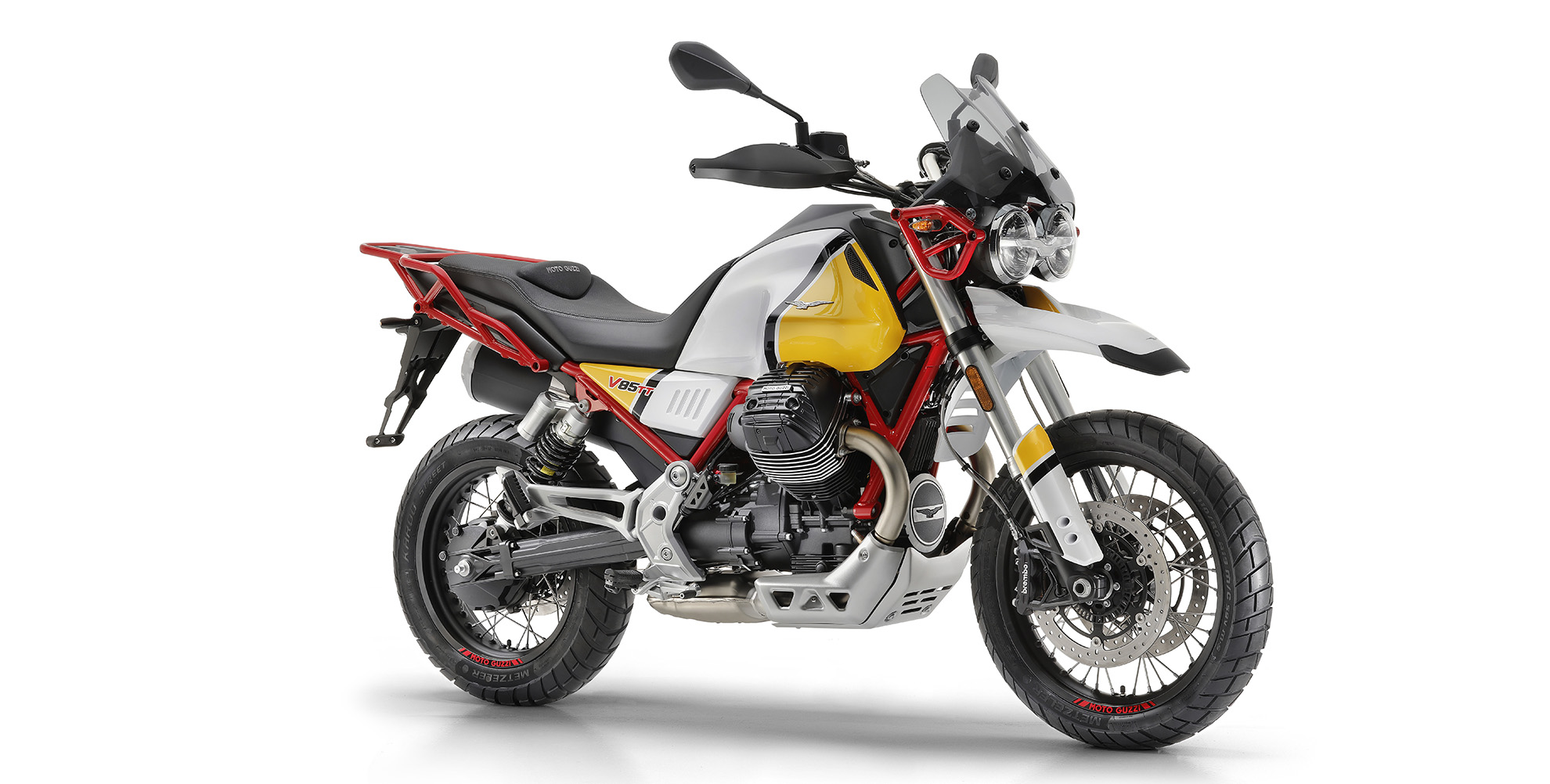 The new moto guzzi v85tt motorcycle, available for rent on our motorcycle tours in Italy