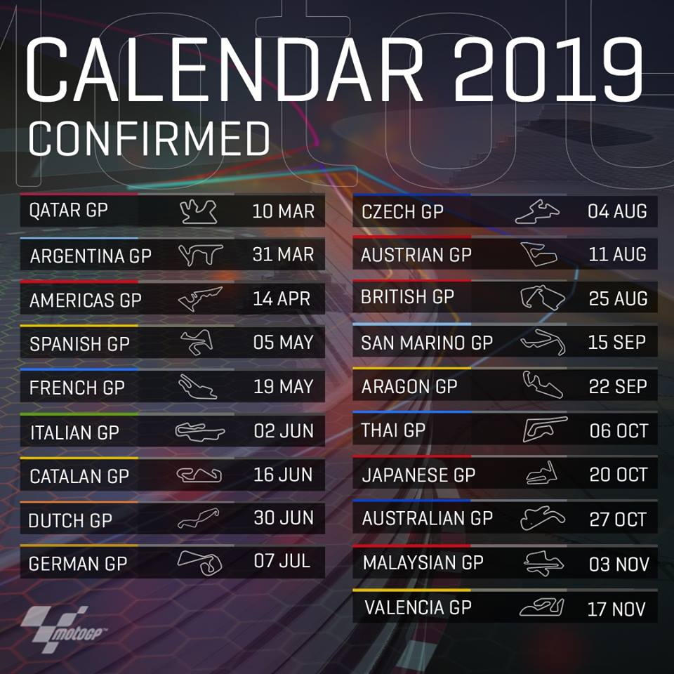 The 2019 calendar for the MotoGP races