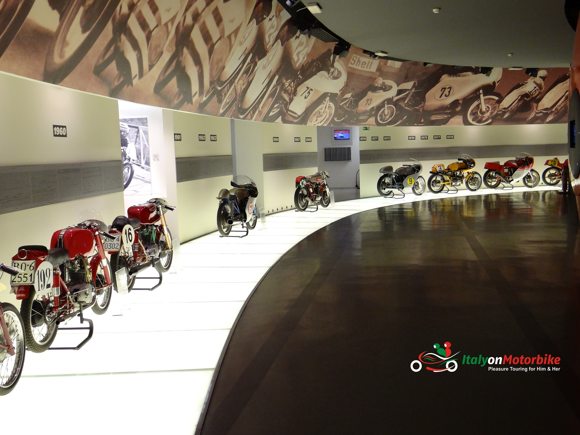 The inside of the Ducati museum available to see on our Top Class motorcycle tour of Italy with a MotoGP