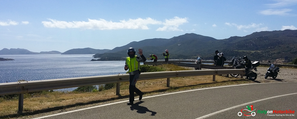 A sea view in Sardinia on one of our motorcycle tour in Italy
