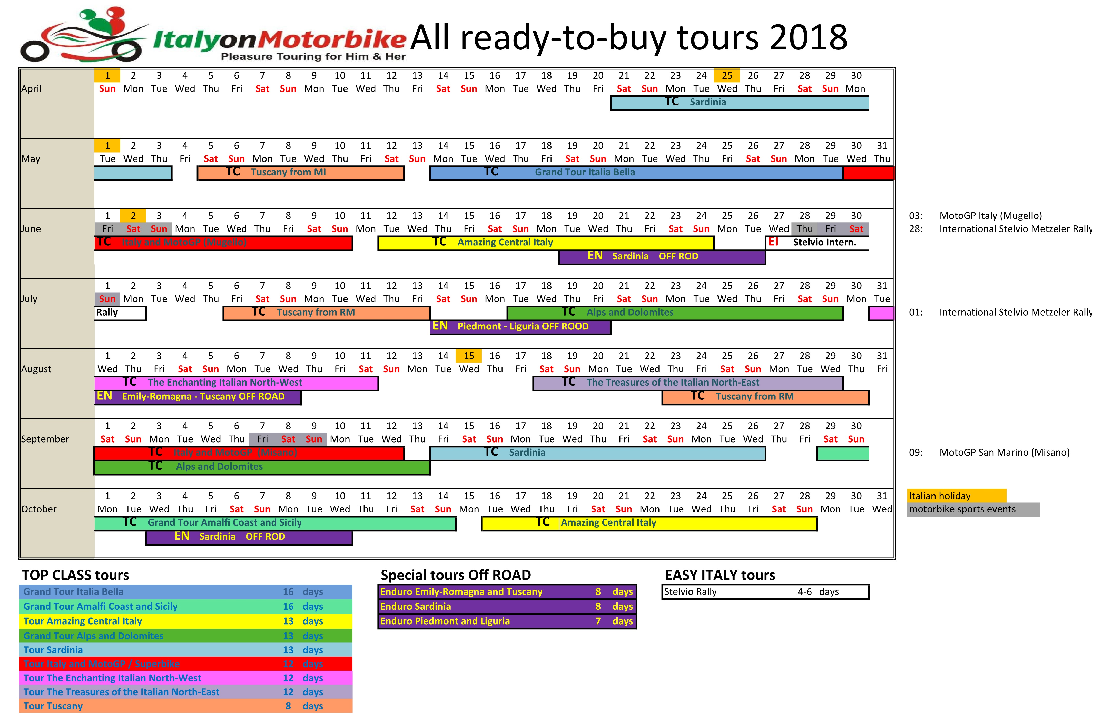 calendrier 2018 des tours italy on motorbike italy on motorbike. Black Bedroom Furniture Sets. Home Design Ideas