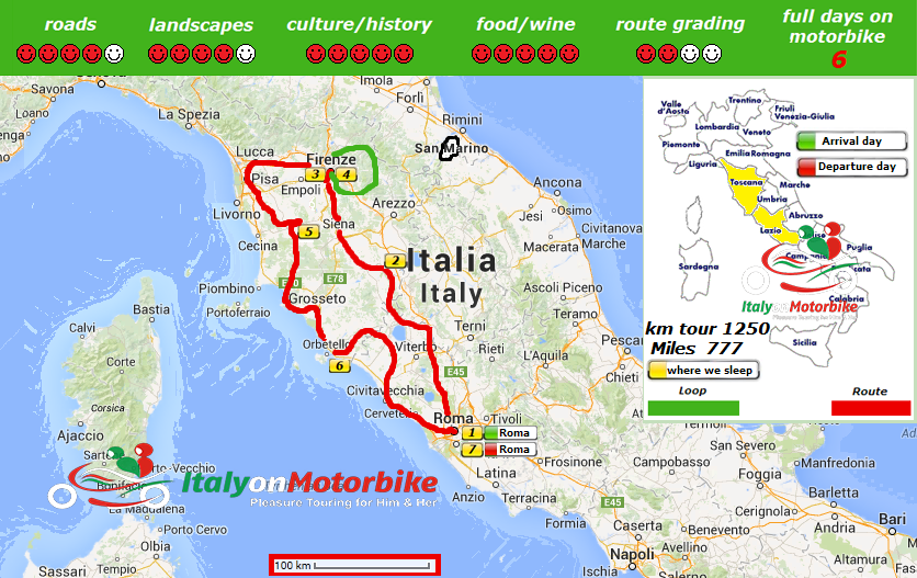 Tuscany tour map
